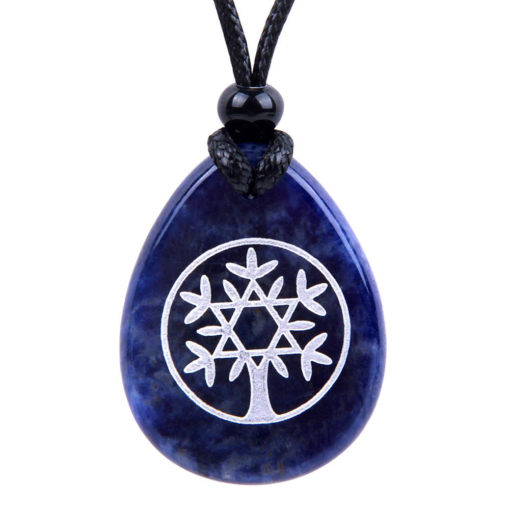 Tree of Life Circle King of Solomon Star Good Luck Amulet Sodalite Wish Totem Gemstone Necklace Pendant