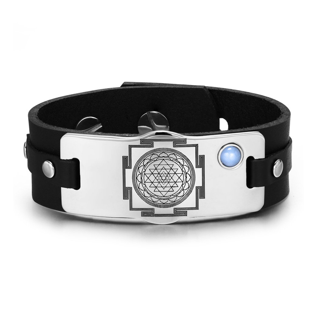 Sri Yantra Chakra Magical Energy Amulet Sky Blue Simulated Cats Eye Adjustable Leather Bracelet
