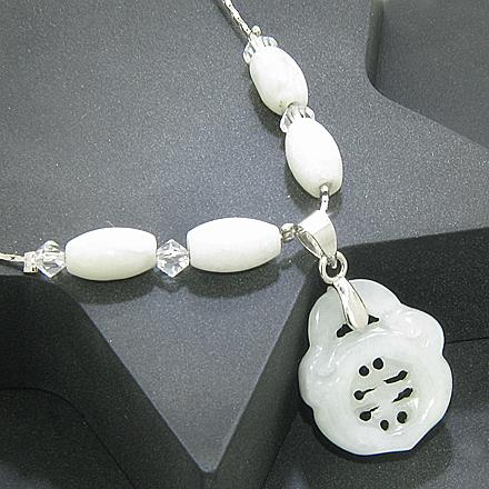 Good Luck Talisman 18Kgp And Swarovski Unique Jade Necklace