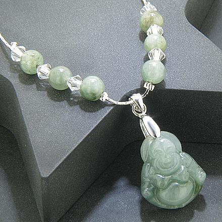 Good Luck Talisman Swarovski Elements Unique Jade Buddha Necklace