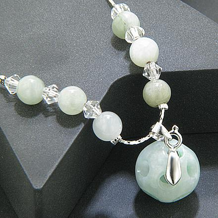 Good Luck Talisman Swarovski Elements Jade Necklace