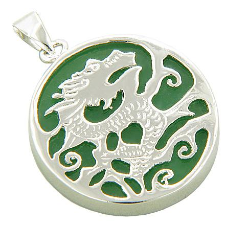 Amulet Dragon Green Jade 925 Sterling Silver Pendant