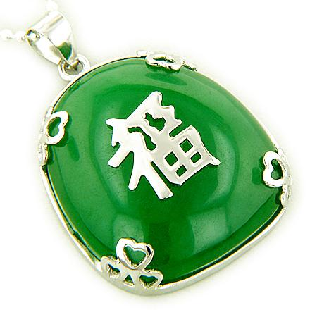 Amulet Good Luck, Wealth Green Jade 925 Silver Pendant