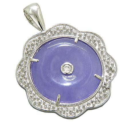 Amulet Lucky Purple Jade Donut And Flower 925 Silver Pendant