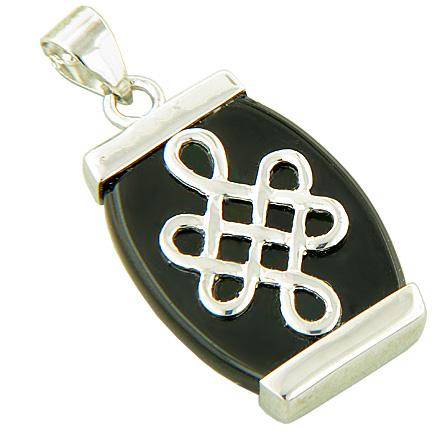 Amulet Protection Celtic Knot Black Jade 925 Silver Pendant