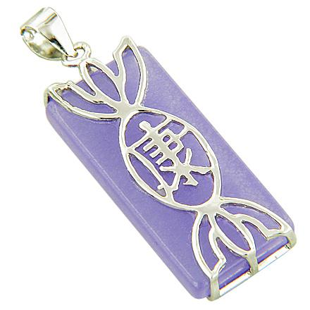 Amulet Good Luck And Wealth Candy Purple Jade Silver Pendant