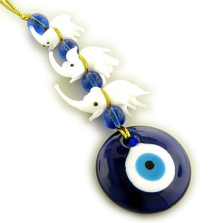 Evil Eye Protection And Three Lucky Elephants Glass Blessing
