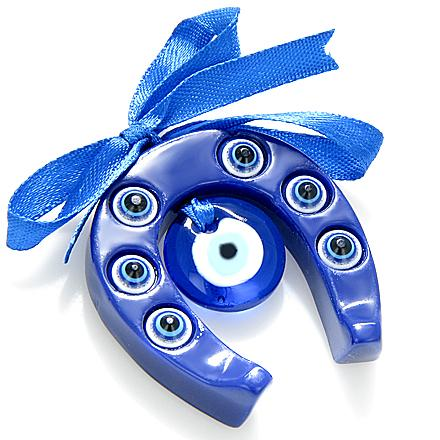 Horse Shoe Evil Eye Protection Glass Charm And Blessing