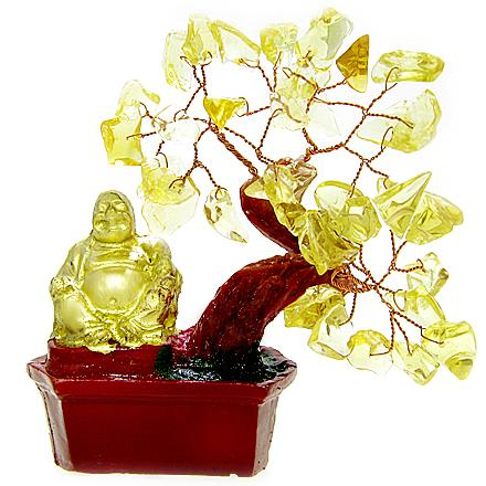 Money Talisman Citrine Gemstone Buddha Tree