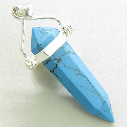 Good Luck Talisman Turquoise Crystal 925 Silver Pendant