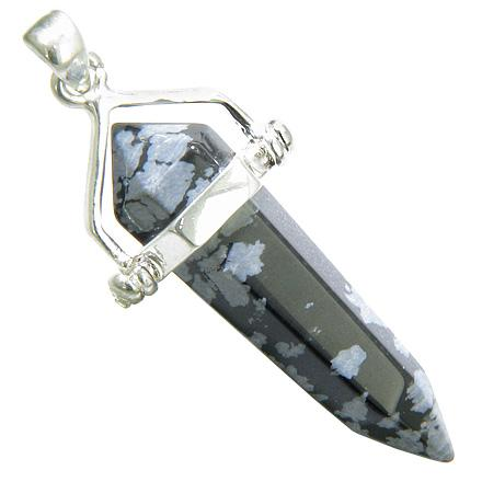 Evil Eye Protection Talisman Snowflake Obsidian Silver Crystal Point Pendant