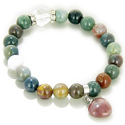 Swarovski Multicolor Jasper Heart Will Power Talisman Bracelet