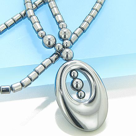 Protection Hematite Ellipse Necklace