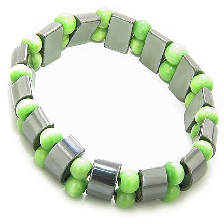 Lucky And Protection Hematite And Green Cats Eye Bracelet