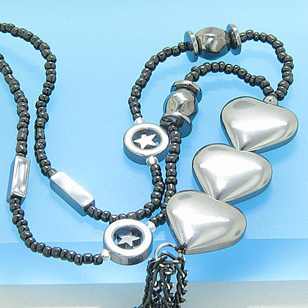 Protection Hearts Hematite Necklace