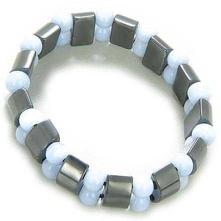 Lucky And Protection Hematite And Sky Blue Cats Eye Bracelet