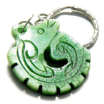 Good Luck And Protection Talisman Dragon Green Jade Keychain