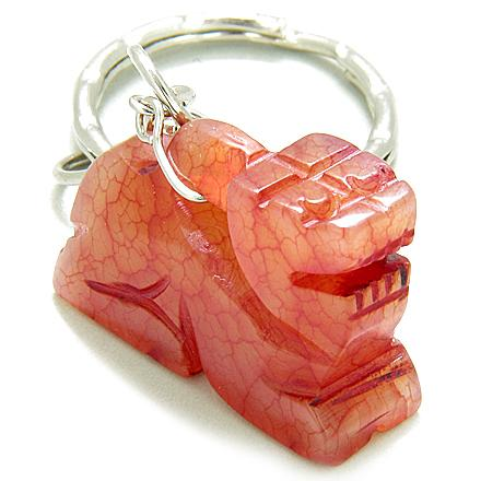 Good Luck & Protection Talisman Dragon Red Jade Keychain