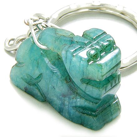 Good Luck & Protection Talisman Dragon Green Jade Keychain