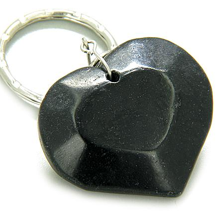 Love And Good Luck Talisman Lucky Heart Black Jade Keychain