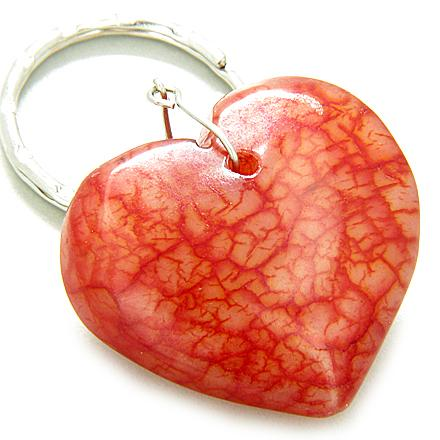 Love And Good Luck Talisman Lucky Heart Red Jade Keychain