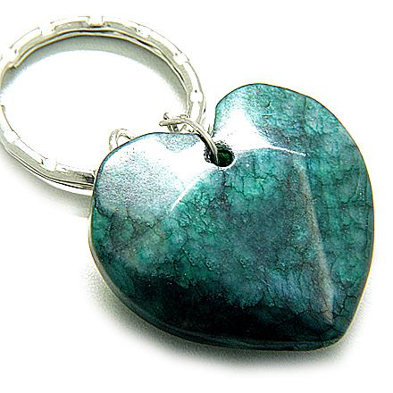 Love And Good Luck Talisman Lucky Heart Green Jade Keychain