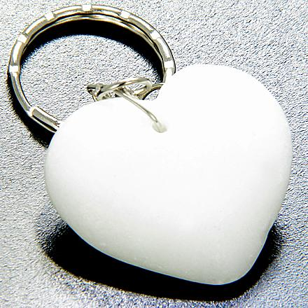 Love And Good Luck Talisman Lucky Heart White Jade Keychain