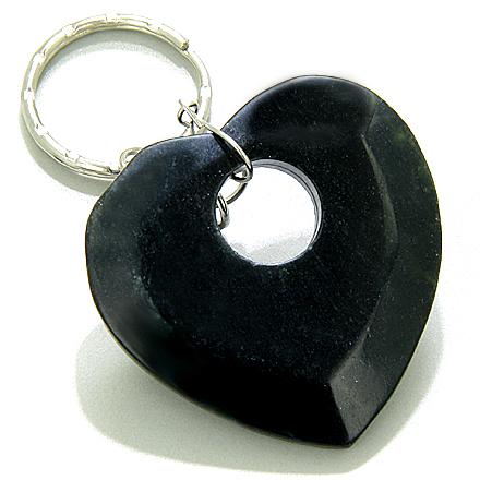 Love And Good Luck Talisman Heart-Donut Black Jade Keychain