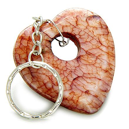 Love And Good Luck Talisman Heart-Donut Antique Jade Keychain