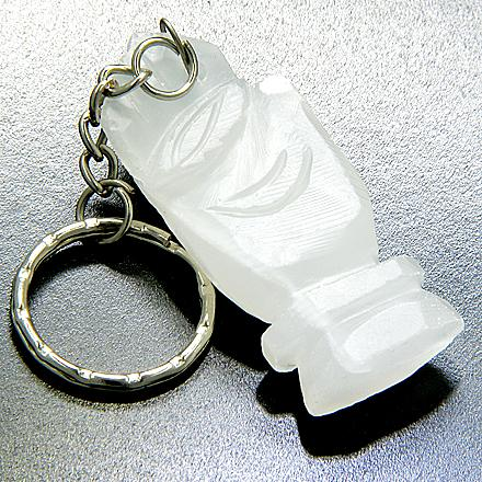 Good Luck And Protection Eye And Buddha Hand White Jade Keychain