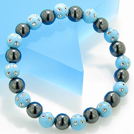 Magnetic Protection Hematite Baby Blue Crystals Bracelet