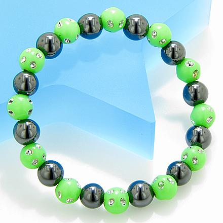 Magnetic Protection Hematite Lime Crystals Bracelet