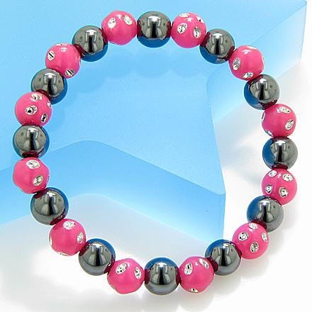 Magnetic Protection Hematite Fuchsia Crystals Bracelet