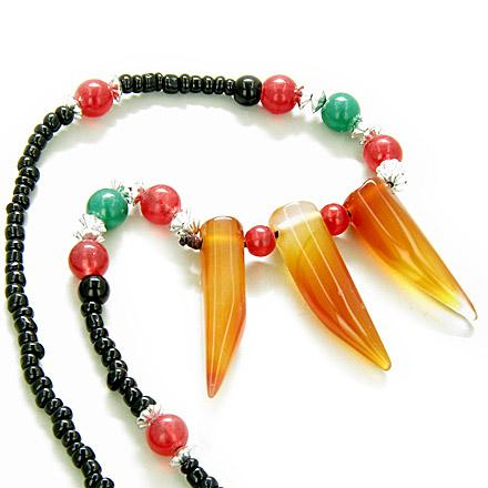 Good Luck Talisman Three Italian Horn Orange Agate Necklace