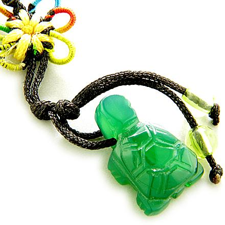 Good Luck Talisman Green Agate Turtle Cell Phone Charm