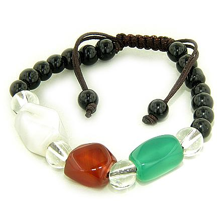 Good Luck Talisman Faceted Nugets Multicolor Agate Bracelet