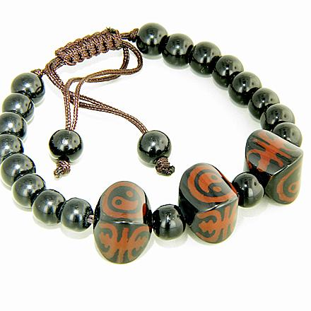 Yin - Yang, Good Luck And Protection Nuggets Agate Bracelet