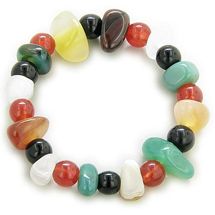 Happy And Good Luck Multicolor Agate Bracelet