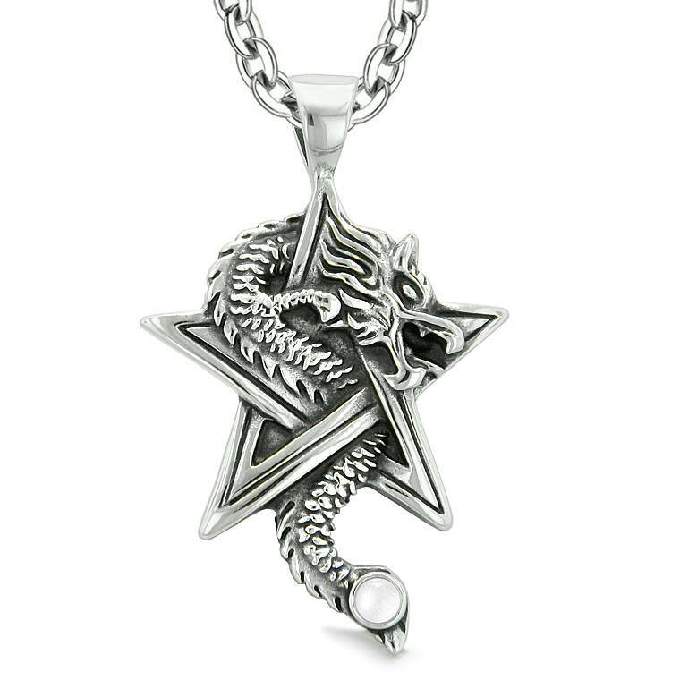 Courage Dragon Magic Powers Star Pentacle Amulet White Simulated Cats Eye Pendant Necklace