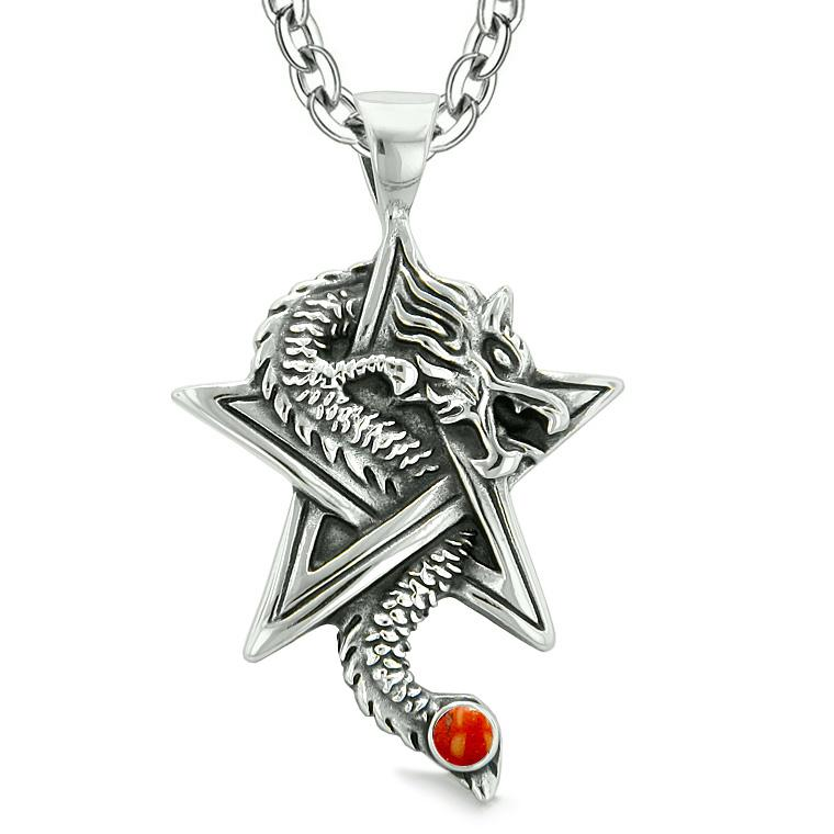 Courage Dragon Magical Protection Powers Star Pentacle Amulet Red Jasper Pendant 22 Inch Necklace