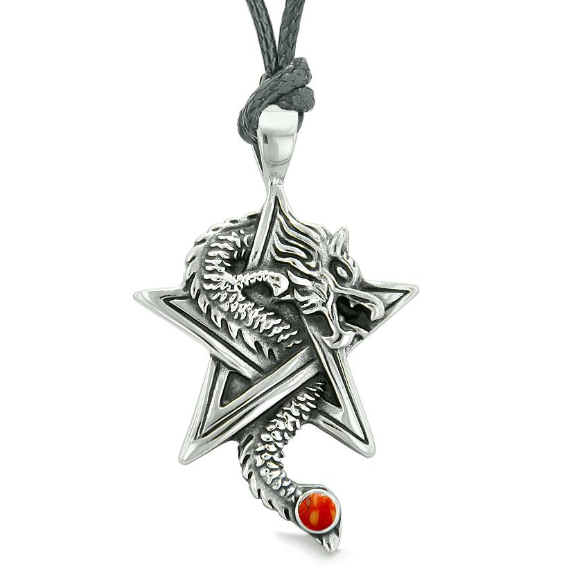 Courage Dragon Magic Protection Powers Star Pentacle Amulet Red Jasper Pendant Adjustable Necklace