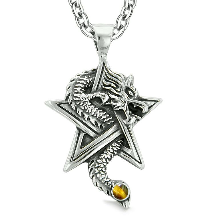 Courage Dragon Magical Protection Powers Star Pentacle Amulet Tiger Eye Pendant 18 Inch Necklace
