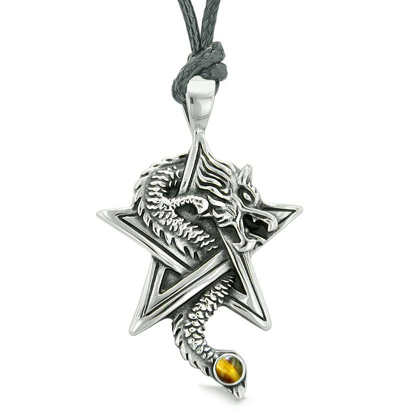 Courage Dragon Magical Protection Powers Star Pentacle Amulet Tiger Eye Pendant Adjustable Necklace