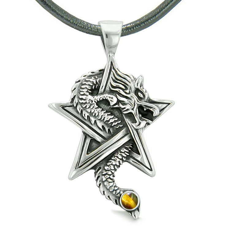 Courage Dragon Magical Protection Powers Star Pentacle Amulet Tiger Eye Pendant Leather Necklace