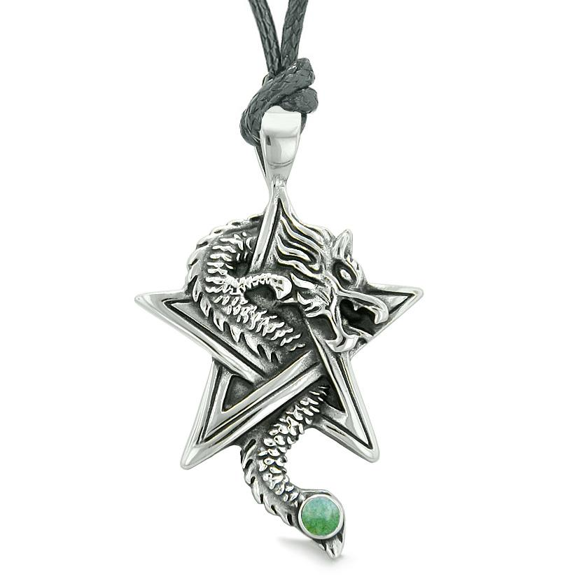 Courage Dragon Magical Protection Powers Star Pentacle Amulet Green Quartz Pendant Necklace