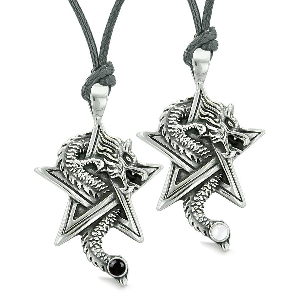 Courage Dragons Star Pentacle Amulets Love Couples Best Friends Simulated Onyx Cats Eye Necklaces
