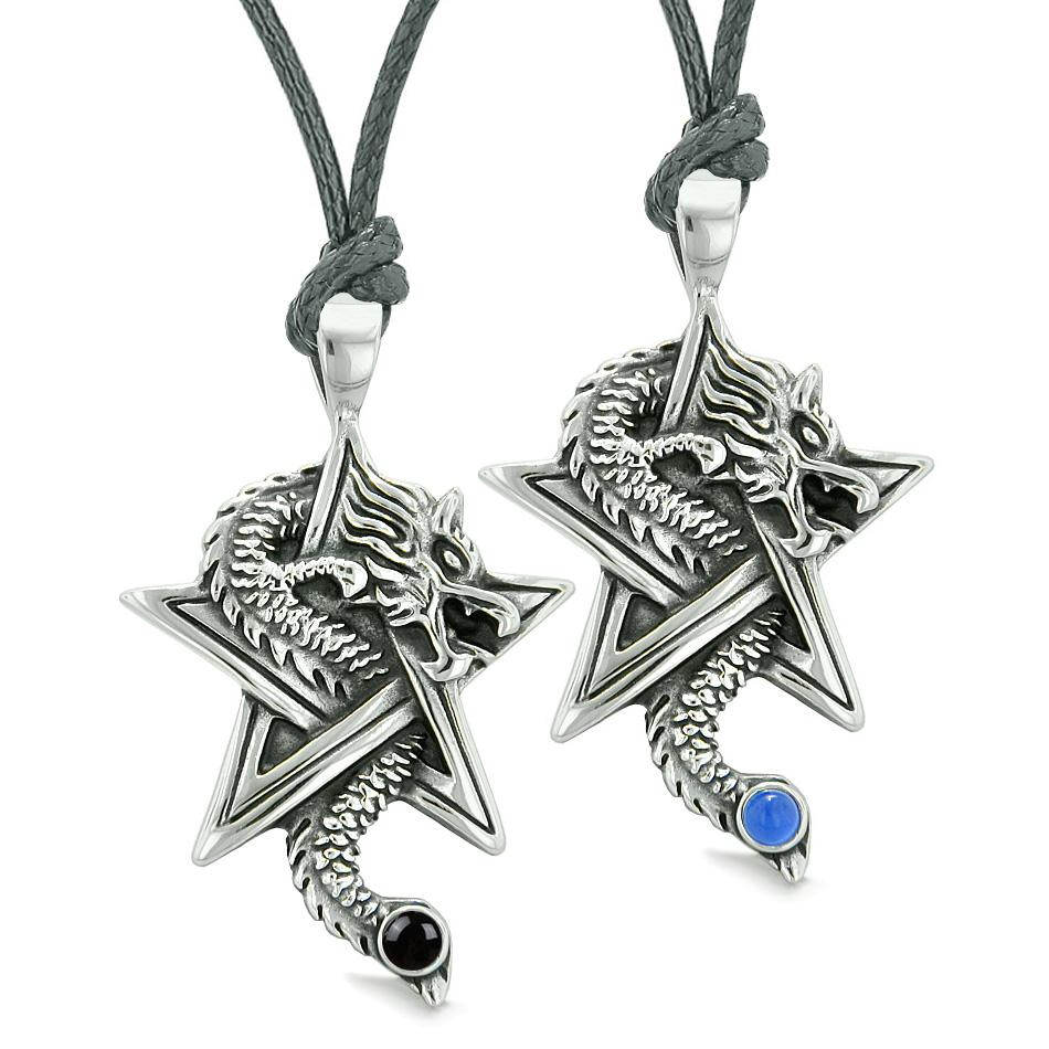 Courage Dragons Star Pentacle Amulets Best Friends Couples Blue Simulated Cats Eye Onyx Necklaces