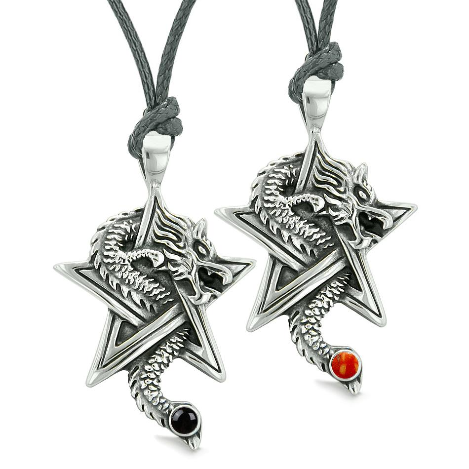 Courage Dragons Star Pentacle Amulet Love Couples Best Friends Red Jasper Simulated Onyx Necklaces