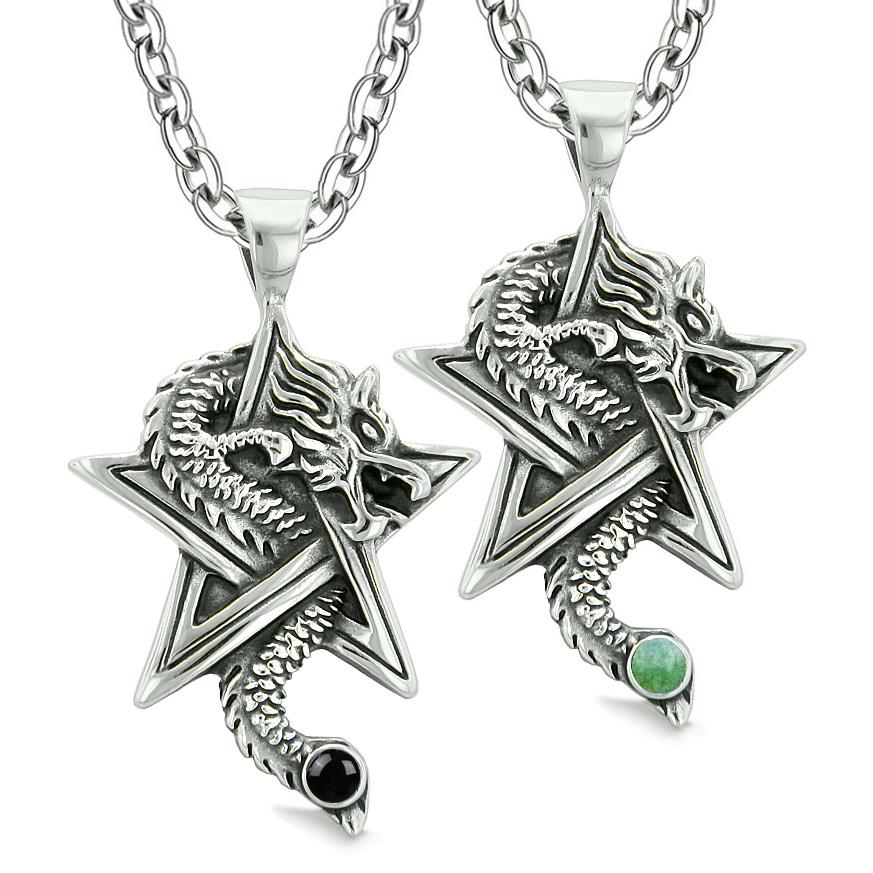 Courage Dragons Star Pentacle Amulet Love Couples Best Friend Simulated Onyx Green Quartz Necklaces