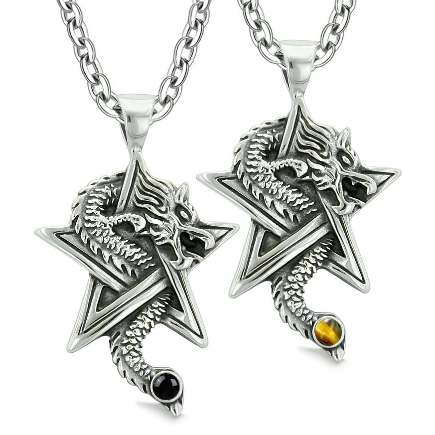 Courage Dragons Star Pentacle Amulet Love Couples Best Friends Simulated Onyx Tiger Eye Necklaces